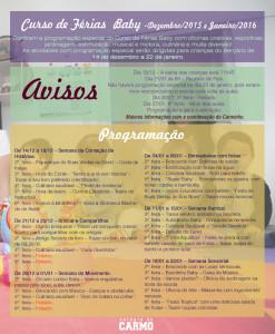 Curso de Férias - Programação especial Bercário - 2015/2016